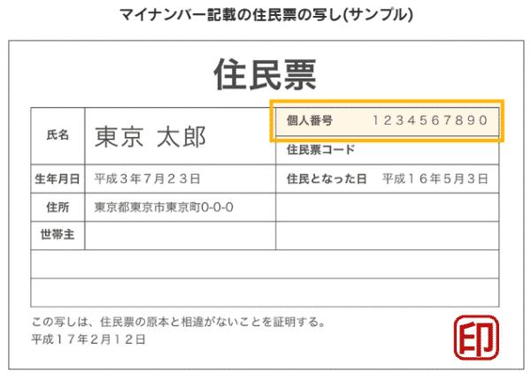 3.マイナンバー記載の住民票