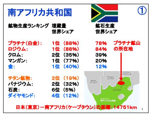 南アフリカの主要輸出産業 レアメタル